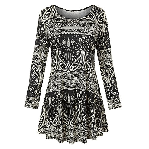a536a030cd0 Holywin Womens Long Sleeve O Neck Floral Dress Ladies Summer Casual Dress
