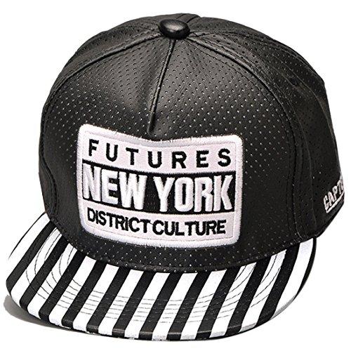 THENICE Donna Hip Hop pelle Cappello Baseball Cap Cappello piatto a tesa (nero)