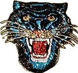 """Pailletten Strass Glitzer Tiger Aufnäher Patches groß Tiger für Jacken Aufbügler zum aufbügeln Sehr Hochwertiger Glitzer Tiger 23 x 23cm Farbvarianten """" (blau)"""