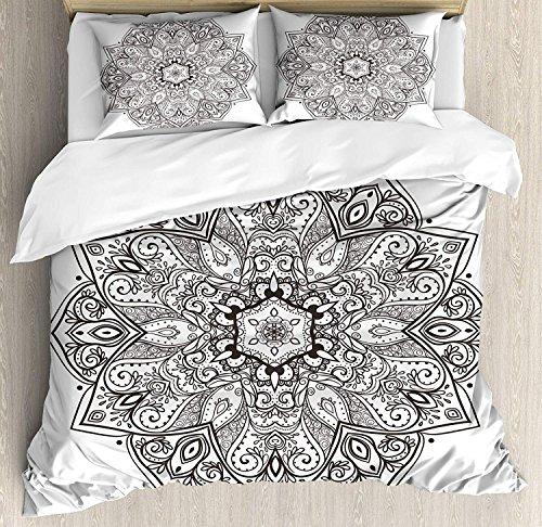 Soefipok Mandala 3-teiliges Bettwäscheset Bettbezug-Set, asiatisches, psychedelisches, kreisförmiges Lotus-Motiv, 3-TLG. Tröster- / Qulitbezug-Set mit 2 Kissenbezügen, Schwarz-Weiß -