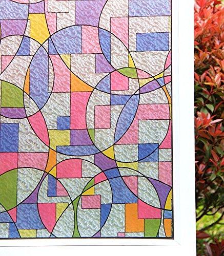 Concus-T Vinilos para Ventanas Estática No Se Adhiere Vinilo Vinilo De Primera Calidad Ventana De Cristal Decorativo con Arte Geométrico Coloreado 45x200cm