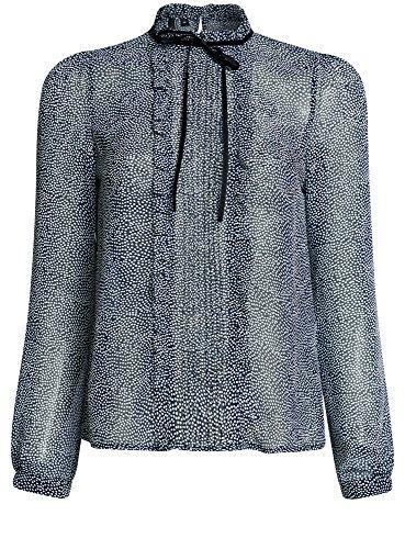 oodji Ultra Damen Chiffon-Bluse mit Rüschen, Blau, DE 42/EU 44/XL (Floral Blue Jersey Aus)