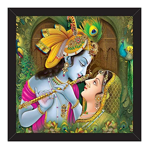 Paper Plane Design Radha Krishna Wall Paintings Frame Prints for Bedroom, Black Frame Without Glass (12 Inch X 12 Inch)