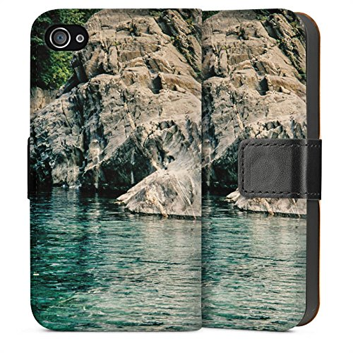 Apple iPhone 4 Housse Étui Silicone Coque Protection Rochers Baie Mer Sideflip Sac