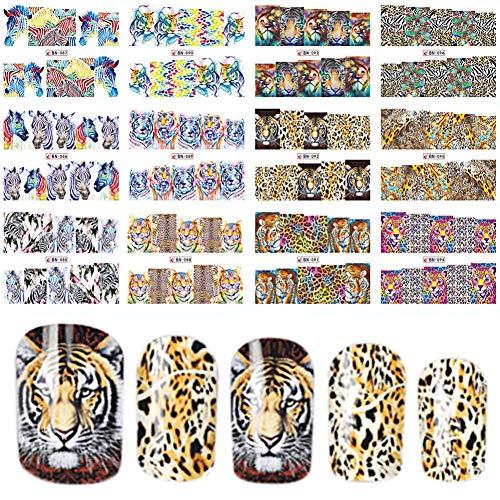 RXBGPZZJT Nagelaufkleber 12 Designs In 1 Satz Fashion Style Nail Sticker Wassertransfer Tiger...