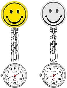 CestMall 2 Pack Orologio Da Infermiere orologio da infermiera in acciaio INOX fascetta clip-on spilla appeso tasca tunica orologi Medical nurse Doctor