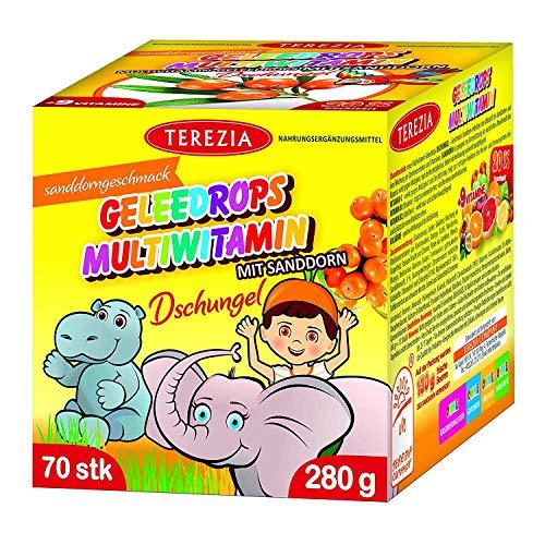 TEREZIA Multivitamine Dschungel Gelee-Drops/Gummibärchen für Kinder, enthaltet Sanddorn und 9 verschiedene Vitamine. Ohne jegliche chemische Zusatzstoffe, Konservierungsmittel und Farbstoffe