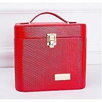 ZYT Doppi sacchetti cosmetici cosmetici borsa grande capacità impermeabile vano con uno specchio . red - Grande Rotonda Borsone