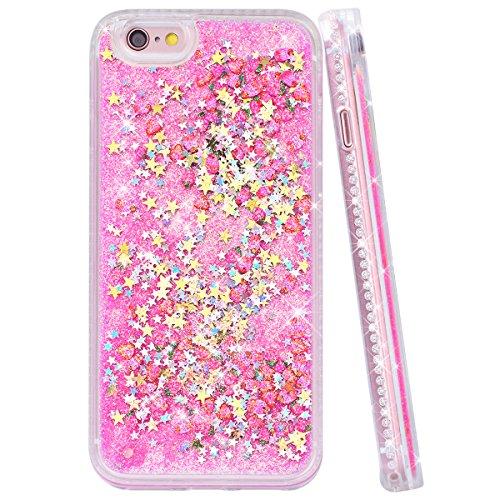 Yokata iPhone 6 / iPhone 6s Hülle Transparent Glitzer Flüssig Hardcase für Mädchen 3D Kreative Treibsand Liquid Bling Handyhülle Crystal Handy Tasche Weiche Silikon Soft Flexible TPU Bumper mit Diaman Rosa Pink