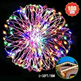 SPLAKS Christmas String lights, 10m/33ft Starry String Lights Copper Cable with 100 Colorful Micro Fairy LEDs for Indoor/Outdoor Gardens, Homes, Wedding, Christmas Party[USB Power]