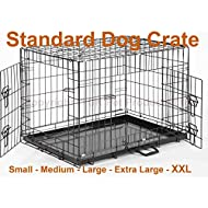 Dog Crate Puppy Cage Small Medium Large XL XXL Metal Folding Training Cage With Metal Tray (Design 1 Standard Cage, Size 5 - 48