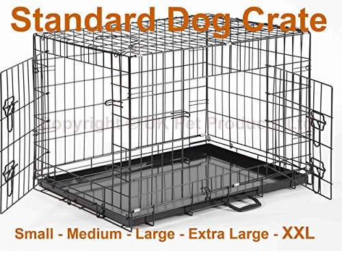 Dog-Crate-Small-Medium-Large-XL-XXL-Optional-Bed-Bowls-Puppy-Cage-Metal-Folding-Training-Cage-With-Metal-Tray
