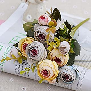 RXYY 10heads/1 Bundle Silk Tea Roses Bride Bouquet for Christmas Home Wedding New Year Decoration Fake Plants Artificial Flowers, Yellow