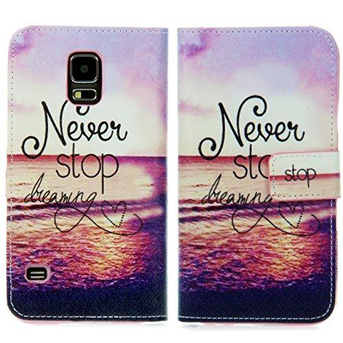 Handy Lux® Schutz Hülle Tasche Kartenfächer Flip Case Etui Cover Involto Motiv Design Hülle BookStyle (Apple iPhone 5 / 5S / SE, Gameboy) Never Stop Dreaming
