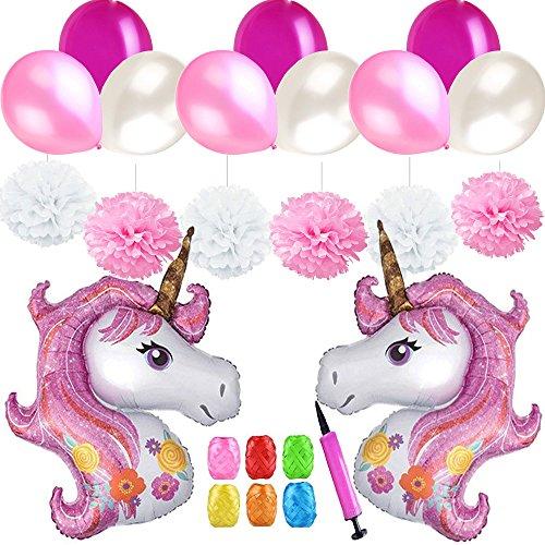 Mattelsen Rose Decoración de Cumpleaños Niñas, Globos Unicornio Helio Gigante & Pompones de Papel, Látex Globos Rose y Blanco con Cinta y Bomba para Infantiles Cumpleaños