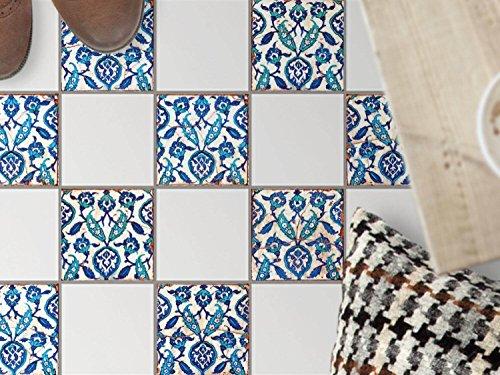 Bodenfliesen-Dekor | Klebe-Sticker Aufkleber Folie Küchenfliesen Bad-Folie Badgestaltung | 10x10 cm Muster Ornament Hamam-Vibes - 9 Stück