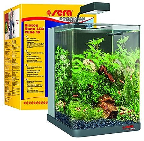 sera 31066 Biotop Nano LED Cube 16 ein 16 l Süßwasser-Nano-Komplettaquarium mit LED Beleuchtung und