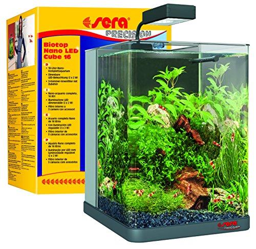 sera 31066 Biotop Nano LED Cube 16 l - ein Aquarium aus Glas mit LED Beleuchtung und 3-Kammer-Innenfilter - ein Komplett-Set für Garnelen, Krebse und Kampffisch