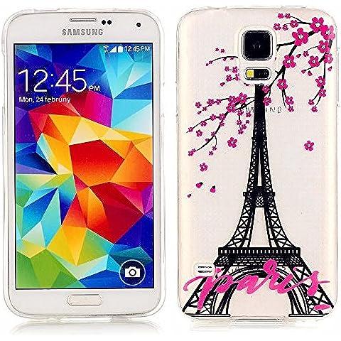 Funda Case KSHOP Para Samsung Galaxy S5 Case Cover Carcasa Suave Flexible TPU Silicona gel Forro Delgada prevención de caídas - Torre Eiffel