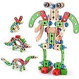 VATOS Holz Konstruktionsspielzeug, Pädagogisches Montessori Spielzeug 96 PCS Holzgebäude Spielzeug ab 3 4 5 6 7 8 9 10+ Jahre