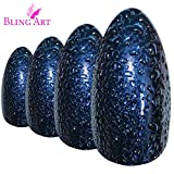 False Nails by Bling Art Blue Purple Water Almond Stiletto Acrylic 24 Fake Tips