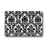 yesliy Custom Top Stoff & rutschfeste Rückseite aus Gummi innen/Außenbereich Fußmatte Tür Mats–Rechteck schwarz und weiß Damast Fußmatte