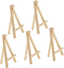 Segolike 5 Pieces Mini Wood Foldable Artist Easel for Stretch Canvas Table Tripod Display - natural, S