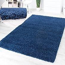 Alfombra Pelo Largo Y Alto Shaggy Azul Monocolor Promoción A Un Precio Increíble, Grösse:Ø 67 cm Rund