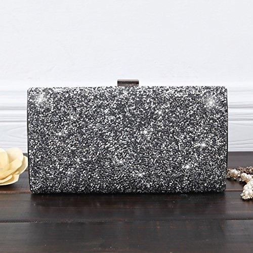 YAN Damentaschen PU Abendtasche Für Hochzeit Event/Party Formale All Seasons Schwarz Silber Champagner (Style : 3) -