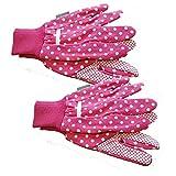 2PACK Damen Pink Polka Dot Gartenhandschuhe mit ergriff Pads