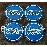 Ford azul plata círculo emblema rueda centro tapa adhesivo logotipo de rueda–55mm Dome–Juego de 4