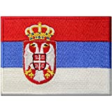 Bandera de Serbia Balcanes Serbios Emblema nacional Parche Bordado de Aplicación con Plancha
