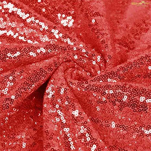 ShinyBeauty Paillettenstoff 2 m rot Stretch Paillettenmaterial Stoff Paillettenstoff durch den Hof Glitter Kulisse C0104 (Den Glitter Durch Hof Stoff)