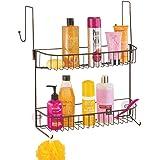 mDesign - Doucherek - voor shampoo, zeep, scheermesjes en meer - hangend/met haken en zuignappen/deurbevestiging - brons