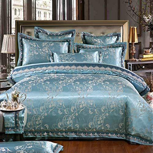Klerokoh Einfache Neue Baumwolle Satin Jacquard Bettwäsche Set von Vier Stück (Color : Green, Size : Queen) -