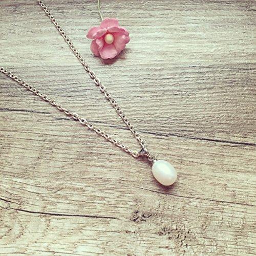 Kurze Kette weiße Perle Silber, white pearl / vintage / ethno / hippie / must have / statement / florabella schmuck