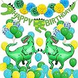 SPECOOL 3D Decorazioni per feste di dinosauri - Mondo Jurassic Style Dinosaur Happy Birthday Banner e Balloons-Dinosaur Set Party Favors Giocattoli per bambini Ragazzi