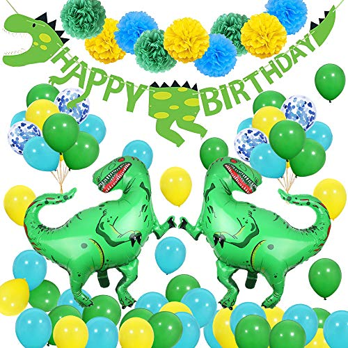 SPECOOL 3D Dinosaurier Party Dekorationen - Welt Jurassic Style Dinosaurier Alles Gute Zum Geburtstag Banner und Ballons-Dinosaurier Set Party Favors Spielzeug für Kinder Jungen (Supplies Party Dino Kleine)