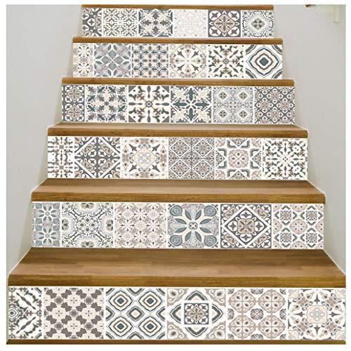 Quner Treppe Aufkleber, Selbstklebend Wasserdicht DIY Wandtattoo PVC 6  Stück Treppen Abziehbild Dekor Entfernbare Abziehbilder (Stil 1)
