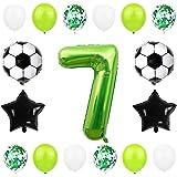 Liitata Globos de fútbol para 7º cumpleaños, decoración de 40 pulgadas, color verde, balón de fútbol, estrella y confeti, glo