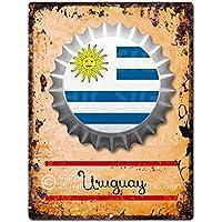 Chic Sign País Bandera de Uruguay Botella Cap Retro Vintage rústico Cocina Bar Pub Tienda de
