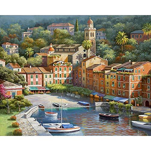 DIY Malen nach Zahlen Bild Wand Kunst handgemaltes Ölgemälde Landschaft Home Decoration - Waterside Town,WithoutFrame,50 * 65cm