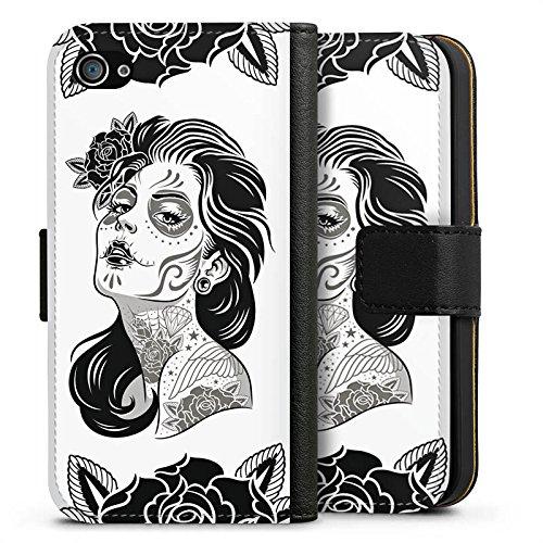 Apple iPhone X Silikon Hülle Case Schutzhülle La Catrina Muerta Tattoo Sideflip Tasche schwarz
