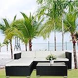 (6034) POLY RATTAN Lounge Schwarz Gartenset Sofa Garnitur Polyrattan Gartenmöbel