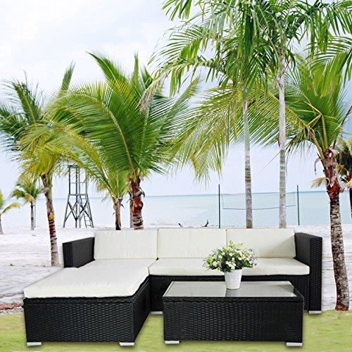 Di-Nesh (6034) POLY RATTAN Lounge Schwarz Gartenset Sofa Garnitur Polyrattan Gartenmöbel