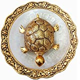 Crafts Metal Feng Shui Tortoise On Plate Showpiece (Golden, Diameter:5.5 Inch) (Ideal for Diwali Gift)