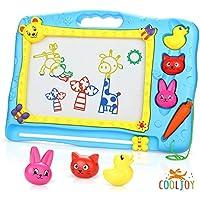 Cooljoy Pizarra magnética colorido, Almohadilla borrable de escritura y dibujo para niños 2 años 3 años 4 años - Juguetes educativos - Portátil - Tamaño 40 x 31CM - Animales, Números, Alfabeto