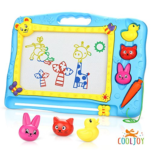 (Cooljoy Tier Thema Bunt Magnetische Maltafel Groß Zaubertafel mit 3 Carton Magnetische Stamper, Zaubermaltafel Frühe Entwicklungs Geschenk für Kinder 3 4 5 Jahre alt)