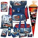 Feuerwehr Schulranzen-Set 10tlg, Scooli Undercover, Campus Fit mit Sporttasche, Schultüte, Brotdose, Trinkflasche und Schreibset(4tlg.)