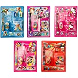 RIANZ Cartoon Character Pencil Cases With Pencils, 1 Eraser, 1 Sharpener, 8 Crayons, 1 Scale - Set Of 5